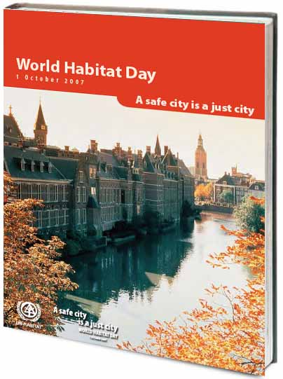 Portada de World Habitat Day. A safe city is a just city.