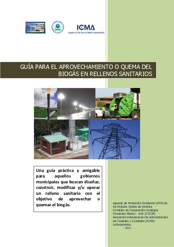 Portada de Aprovechamiento integral del biogás de rellenos sanitarios activos y clausurados=Holistic use of biogas in active and closed sanitary landfills