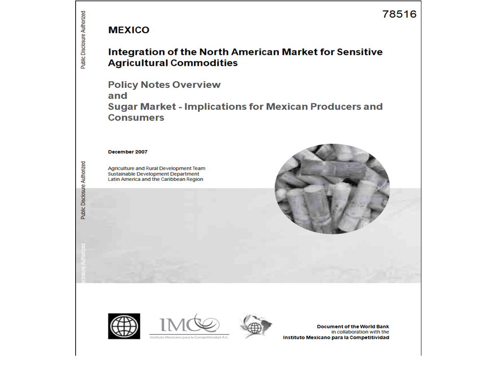 Portada de United Mexican states integration of the North American market for sensitive agricultural commodities